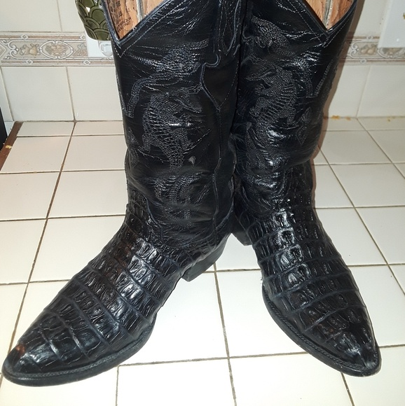 Tony West Shoes | Black Alligator Boots